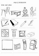 Classroom Objects Worksheet Coloring Pages Worksheets Colouring Numbers Vocabulary Matching Cut Worksheeto English Writing sketch template