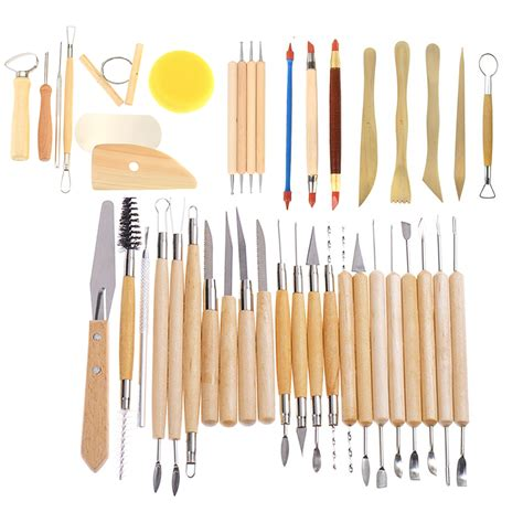 pcs wooden clay sculpting tools pottery carving tool set