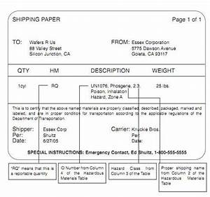 Hazardous materials shipping papers high road online cdl training for Hazmat shipping papers template