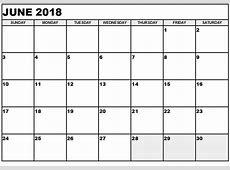 June 2018 Calendar Template yearly printable calendar