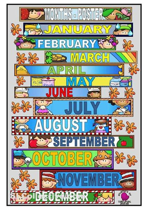 months   year printables    poster  teach