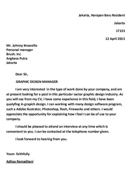 write a letter of application application letter