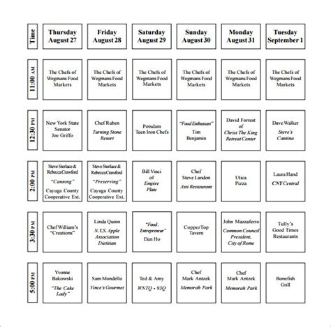 kitchen schedule templates word docs