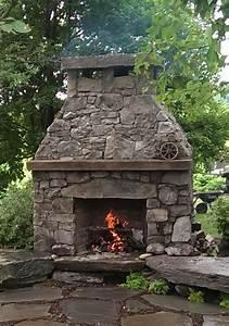 Rustic Outdoor Fireplace - Farmhouse - Landscape