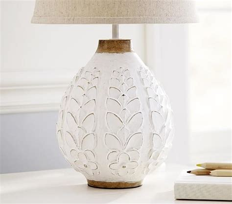 leighton carved mango wood white floral lamp