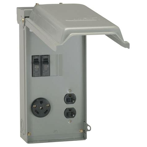 amp outlet box outdoor rv mini camp trailer lockable