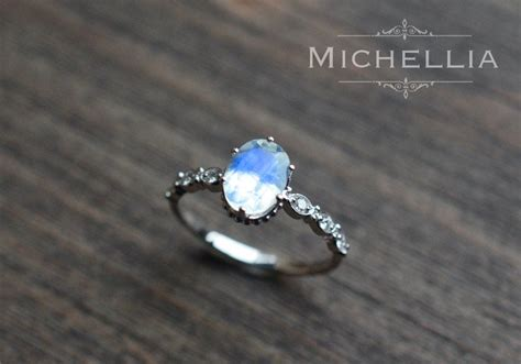 white gold moonstone engagement ring  diamond