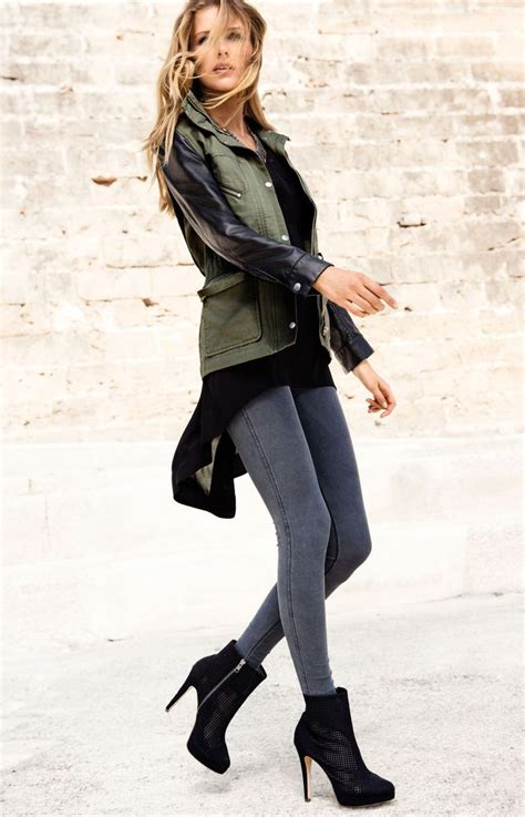 OUTFIT khaki jacket with leather sleeves black top grey skinny jeans black heeled boots ...