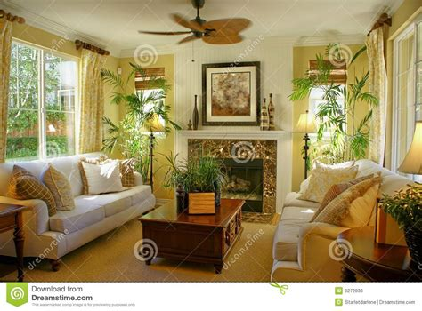 sunny yellow living room wfan stock photo image