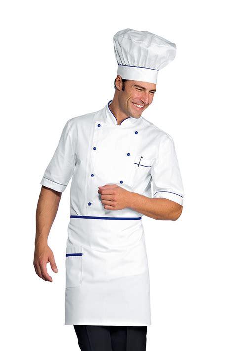 tenu de cuisine veste chef cuisinier alicante blanc bleu cyan 100 coton