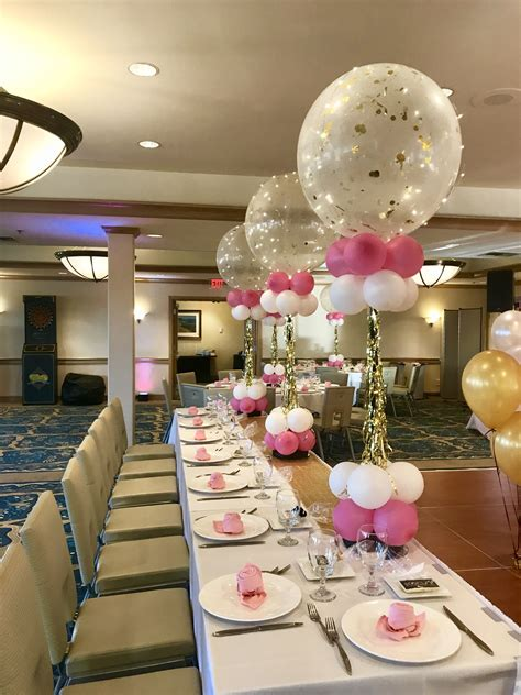 Jumbo Balloon Centerpieces Pink And Gold Party Ideas