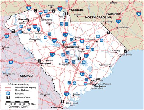 Map of South Carolina Interstate Highways with Rest Areas and Welcome Centers