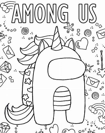 Among Coloring Unicorn Printable Colorear Colouring Printables