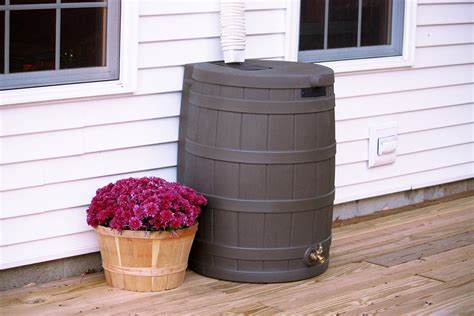 rain water barrel plastic storage brass spigot outdoor