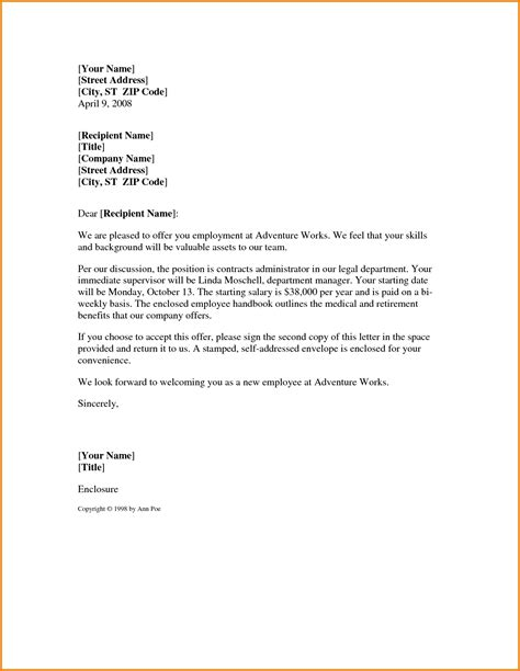 Offer Letter Template Offer Letter Sle Template Learnhowtoloseweight Net