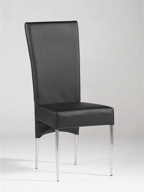 black leather ultra contemporary dining room chair with