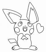 Pichu Coloring Pages Pikachu Printable Getcolorings sketch template