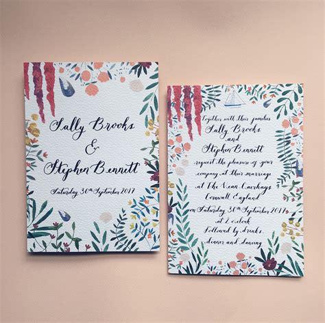 Custom Wedding Invitation Illustrated water colour