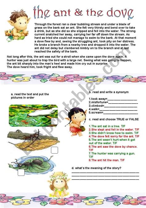 The Ant And The Dove  Esl Worksheet By Liliaamalia