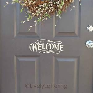 welcome front door decal welcome vinyl lettering for door With front door vinyl lettering