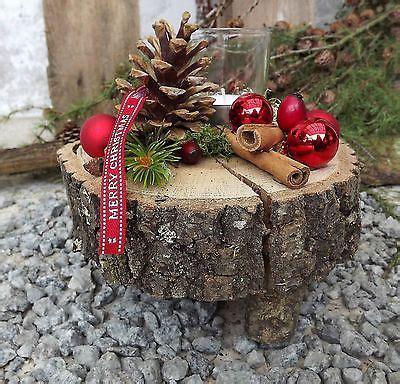 weihnachten advent holz gesteck teelicht auf holzscheibe rot natur edith christmas