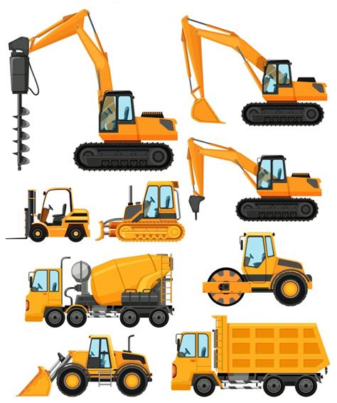 Different Types Of Construction Vehicles Vector