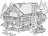Cabin Coloring Log Pages Cabins Drawing Woods Printable Wood Summer Burning Adult Cottage Patterns Stamps Stencils Stampin Drawings Sketch Rubber sketch template