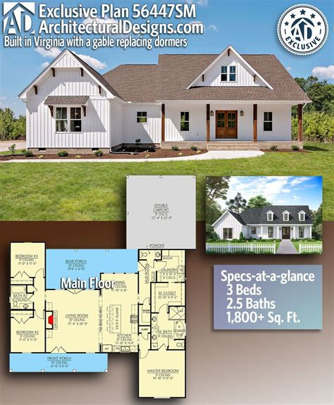 Plan 56447SM: Exclusive Modern Farmhouse with Expansive
