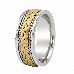 18K TWO TONE GOLD MENS BRAIDED WEDDING BANDS RINGS SATIN