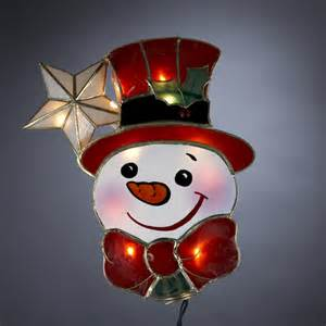 9 quot lighted capiz happy snowman with star christmas tree topper clear lights ebay