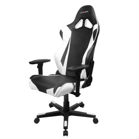 dxracer r series pc office gaming chair black white oh