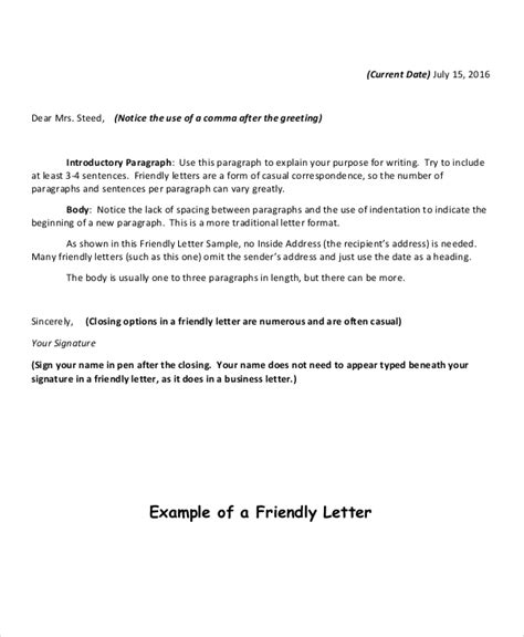 friendly letter writing format 12 friendly letter format free sle exle format