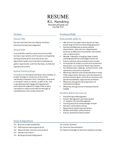 Business Objects Architect Resume by Rlnarodowg Resume