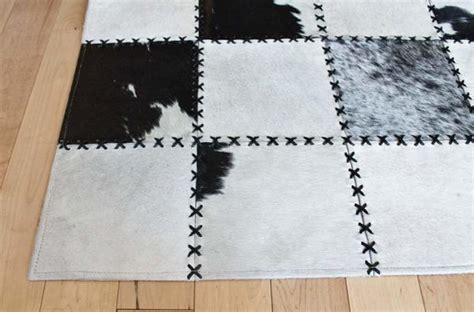 Cowhide Pattern Rug by Madisons Black And White Cow Spot Square Pattern Patchwork