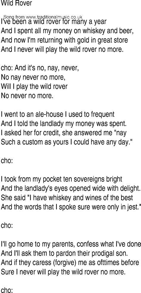 irish  song  ballad lyrics  wild rover