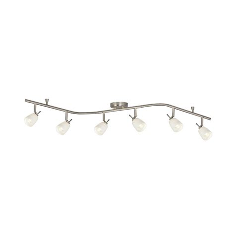 brushed nickel track lighting kits shop galaxy 6 light 61 in brushed nickel glass pendant