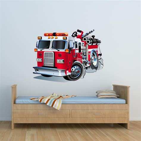 fire engine truck cartoon fire wall art sticker decal mural