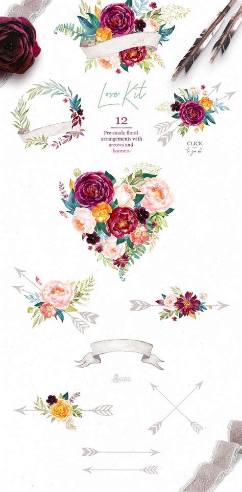Bordeaux Vibrant Collection Floral illustrations