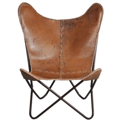 horizon brown leather butterfly chair by horizon chairs