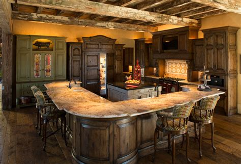 Rustic Lodge Style Home  Montagne  Cuisine Houston