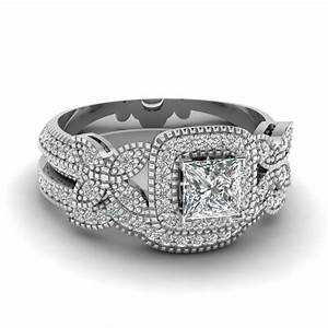 princess cut halo diamond wedding ring set in 18k white With princess cut engagement and wedding ring sets