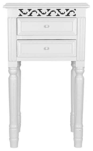 Belgravia Two Drawer Bedside Table in White - Traditional