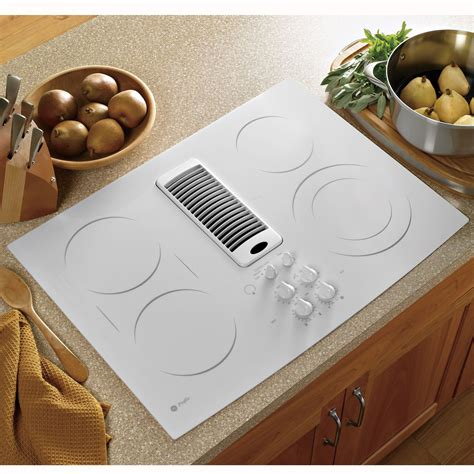 ge profile series pptnww  electric downdraft cooktop white