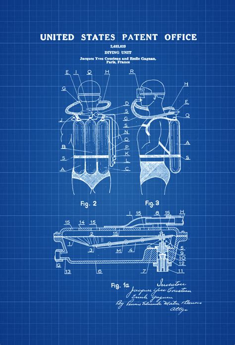 jacques cousteau diving suit patent patent print wall