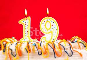 Decorated Cake With Number 19 Burning Candles stock photos ...