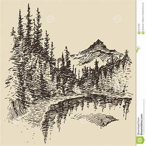 Hand Drawn Landscape Lake And Fir Forest Sketch Stock ...