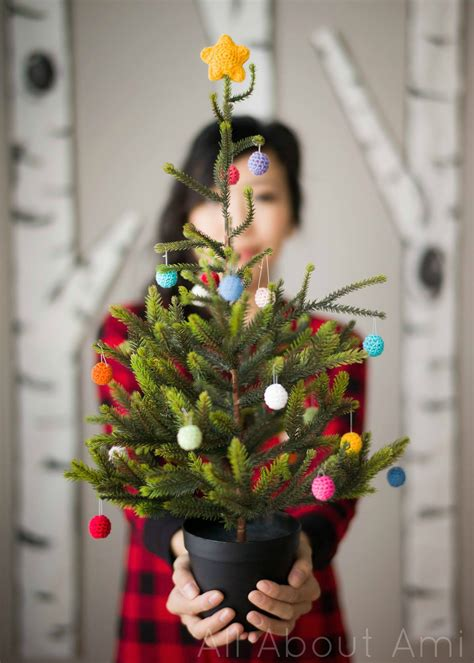 mini christmas tree live mini tree with crochet ornaments all about ami