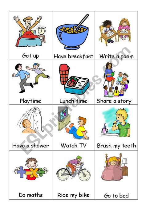 daily routine esl worksheet  kfretwell