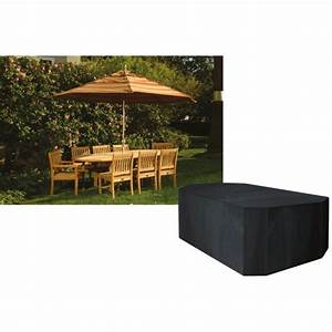 8 seater rectangular furniture set cover black for Garden furniture covers 8 seater