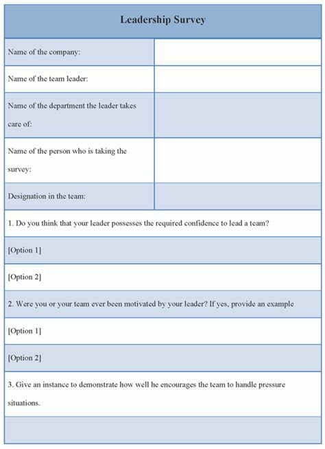 Survey Template Survey Template For Leadership Exle Of Leadership